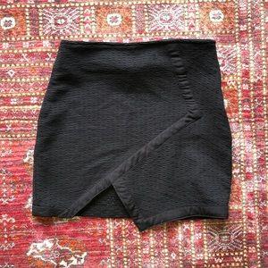 LF Asymmetrical Overlap Black Mini Skirt Small